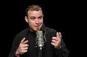Comedian performing