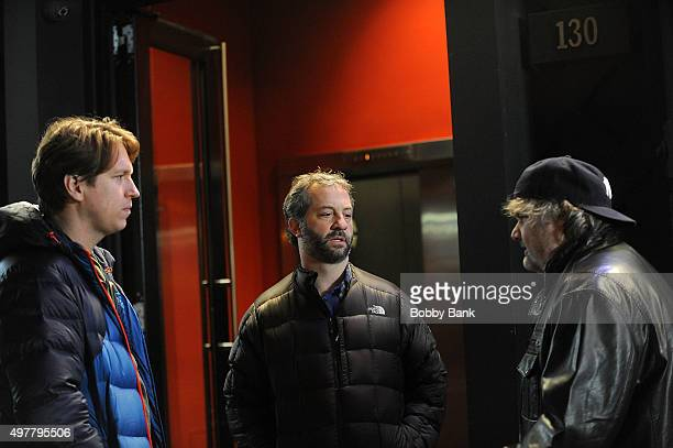 Comedian Pete Holmes director Judd Apatow and comedian Artie Lange on the set of HBO's pilot 'Crashing' on November 18 2015 in New York City