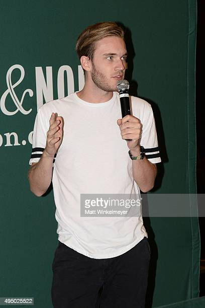 Comedian PewDiePie attends his book signing for 'This Book Loves You' at Barnes Noble at The Grove on October 30 2015 in Los Angeles California
