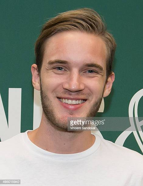 Comedian PewDiePie signs his new book 'This Book Loves You' at Barnes Noble at The Grove on October 30 2015 in Los Angeles California