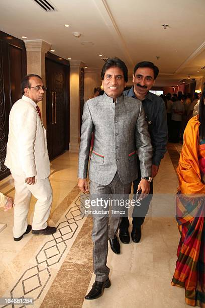 Comedian Raju Srivastava during Annaprashan ceremony of Subrata Roy's granddaughter Roshna on March 20 2013 in New Delhi India
