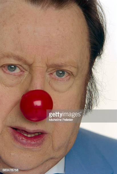 Comedian Raymond Devos Wearing Clown Nose
