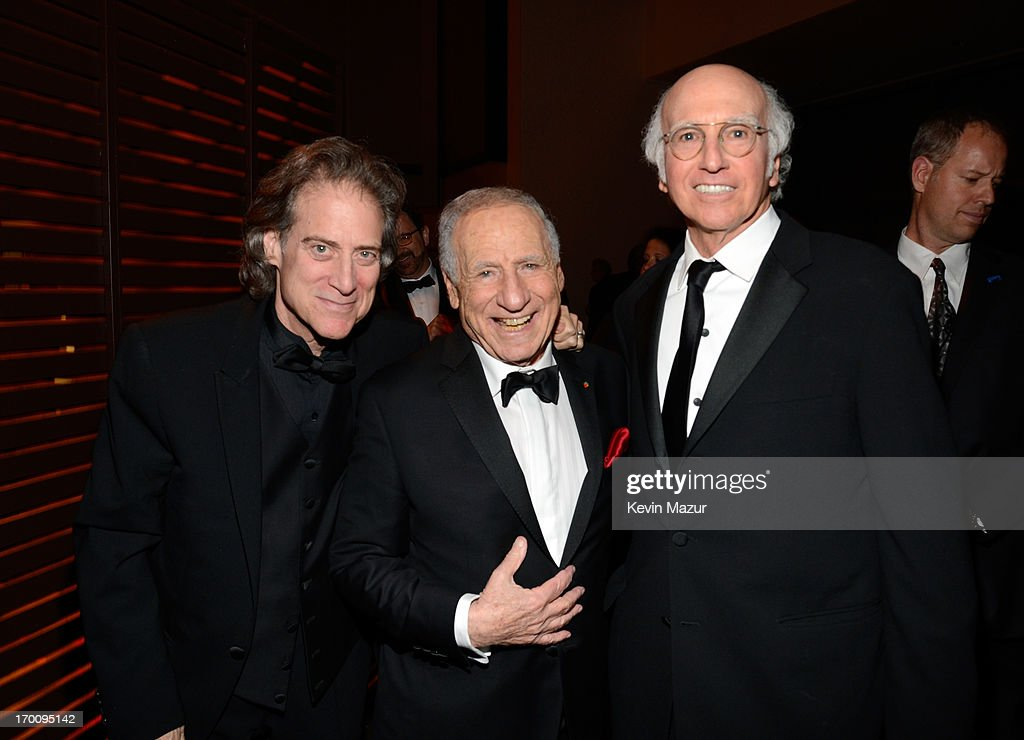 Comedian <a gi-track='captionPersonalityLinkClicked' href=/galleries/search?phrase=Richard+Lewis&family=editorial&specificpeople=213264 ng-click='$event.stopPropagation()'>Richard Lewis</a>, honoree <a gi-track='captionPersonalityLinkClicked' href=/galleries/search?phrase=Mel+Brooks&family=editorial&specificpeople=208129 ng-click='$event.stopPropagation()'>Mel Brooks</a> and writer/producer <a gi-track='captionPersonalityLinkClicked' href=/galleries/search?phrase=Larry+David&family=editorial&specificpeople=125184 ng-click='$event.stopPropagation()'>Larry David</a> attend the after party for AFI's 41st Life Achievement Award Tribute to <a gi-track='captionPersonalityLinkClicked' href=/galleries/search?phrase=Mel+Brooks&family=editorial&specificpeople=208129 ng-click='$event.stopPropagation()'>Mel Brooks</a> at Dolby Theatre on June 6, 2013 in Hollywood, California. 23647_004_KM_1922.JPG