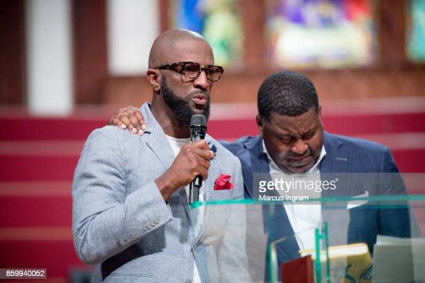 Comedian Rickey Smiley and Dr E Dewey Smith onstage at The House Of Hope Atlanta on October 8 2017 in Decatur Georgia