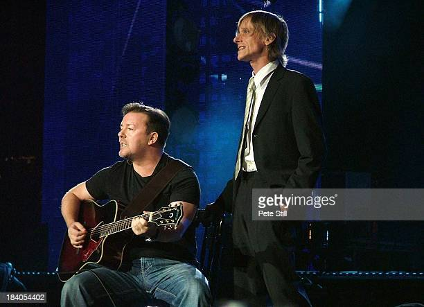 Comedian Ricky Gervais and actor Mackenzie Crook perform on stage at The Concert For Diana in Wembley Stadium on July 1st 2007 in London England