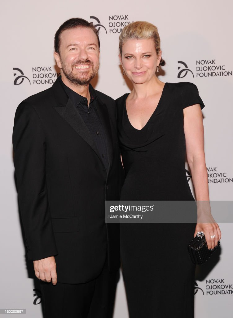 Comedian <a gi-track='captionPersonalityLinkClicked' href=/galleries/search?phrase=Ricky+Gervais&family=editorial&specificpeople=209237 ng-click='$event.stopPropagation()'>Ricky Gervais</a> and author <a gi-track='captionPersonalityLinkClicked' href=/galleries/search?phrase=Jane+Fallon&family=editorial&specificpeople=645298 ng-click='$event.stopPropagation()'>Jane Fallon</a> attend the Novak Djokovic Foundation New York dinner at Capitale on September 10, 2013 in New York City.