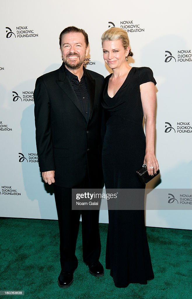 Comedian Ricky Gervais and author Jane Fallon attend the The 2013 Novak Djokovic Benefit Dinner at Capitale on September 10, 2013 in New York City.