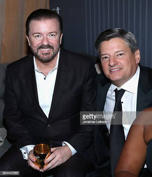 Comedian Ricky Gervais and Chief Content Officer of Netflix Ted Sarandos attend The Weinstein Company and Netflix Golden Globe Party presented with...