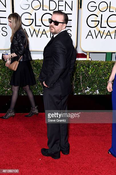 Comedian Ricky Gervais attends the 72nd Annual Golden Globe Awards at The Beverly Hilton Hotel on January 11 2015 in Beverly Hills California