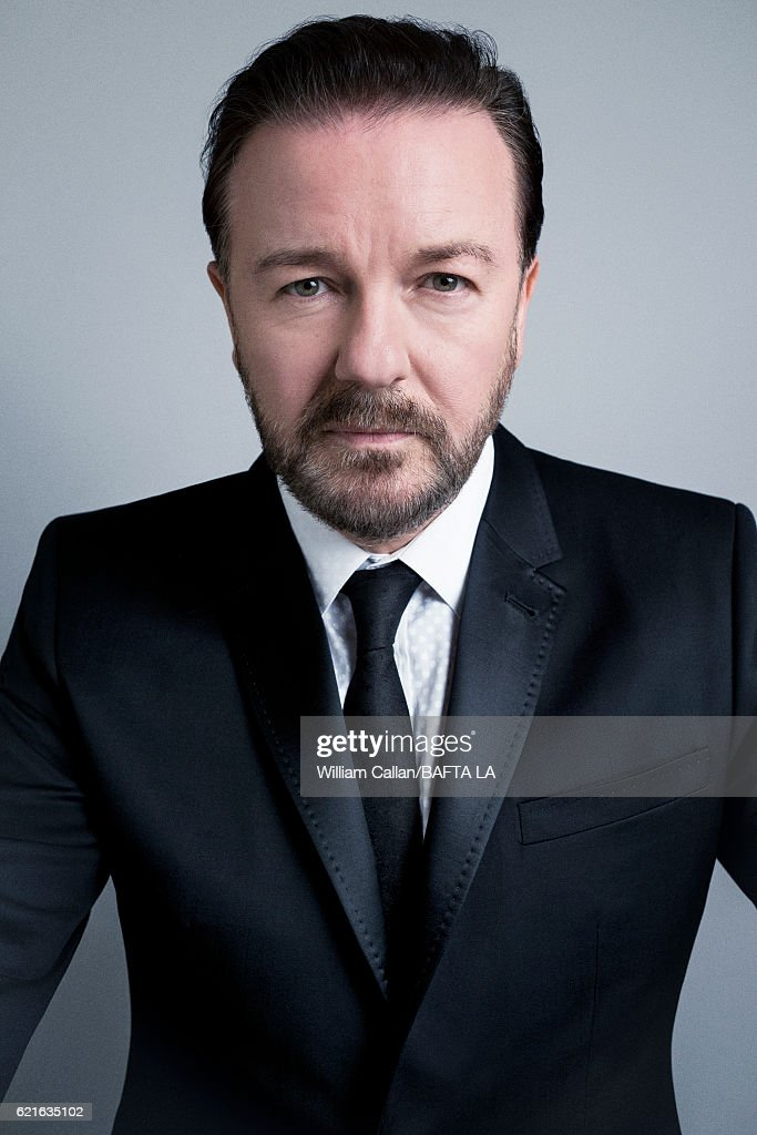 Comedian Ricky Gervais poses for a portrait at the 2016 AMD British Academy Britannia Awards presented by Jaguar Land Rover and American Airlines at The Beverly Hilton Hotel on October 28, 2016 in Beverly Hills, California.