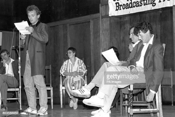 TV comedian Rik Mayall reads an extract from the banned Peter Wright book Spycatcher at an event organised by the Campaign for Press and Broadcasting...