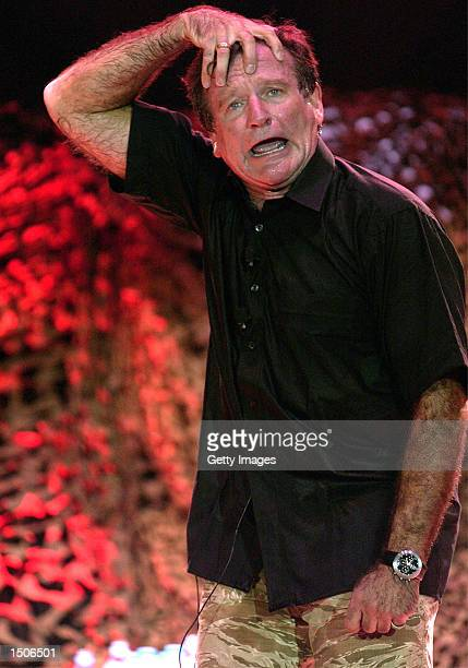 Comedian Robin Williams performs in front of a crowd of 2500 during a brief visit to Incirlik Air Base October 14 2002 in Turkey Williams met with...