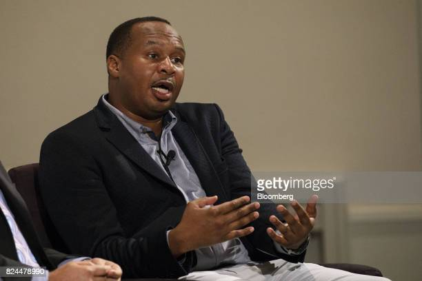 Comedian Roy Wood Jr speaks during the Politicon convention inside the Pasadena Convention Center in Pasadena California US on Saturday July 29 2017...