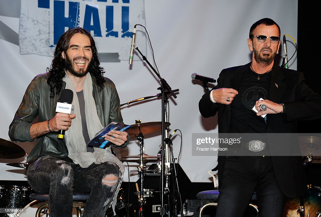 Comedian <a gi-track='captionPersonalityLinkClicked' href=/galleries/search?phrase=Russell+Brand&family=editorial&specificpeople=536593 ng-click='$event.stopPropagation()'>Russell Brand</a> and <a gi-track='captionPersonalityLinkClicked' href=/galleries/search?phrase=Ringo+Starr&family=editorial&specificpeople=92463 ng-click='$event.stopPropagation()'>Ringo Starr</a> on stage at 'SiriusXM's Town Hall With <a gi-track='captionPersonalityLinkClicked' href=/galleries/search?phrase=Ringo+Starr&family=editorial&specificpeople=92463 ng-click='$event.stopPropagation()'>Ringo Starr</a>' And Host <a gi-track='captionPersonalityLinkClicked' href=/galleries/search?phrase=Russell+Brand&family=editorial&specificpeople=536593 ng-click='$event.stopPropagation()'>Russell Brand</a> and Moderator Don Was Live On SiriusXM's The Spectrum Channel performs at Troubadour on January 30, 2012 in West Hollywood, California.