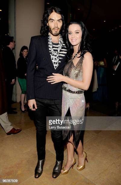 Comedian Russell Brand and singer Katy Perry arrive at the 52nd Annual GRAMMY Awards Salute To Icons Honoring Doug Morris held at The Beverly Hilton...