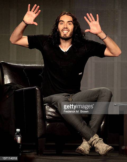 Comedian Russell Brand of the television show 'Russell Brand' speaks during the FX portion of the 2012 Winter TCA Press Tour at The Langham...