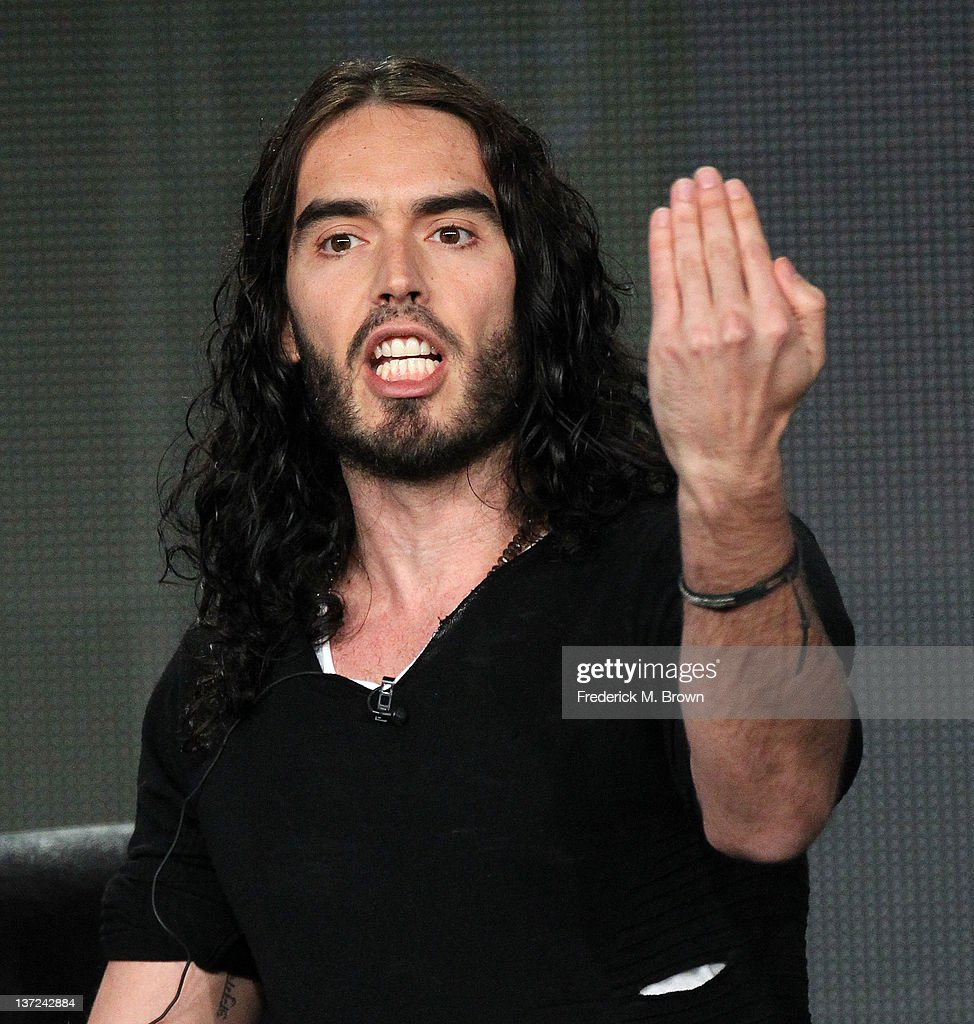 Comedian <a gi-track='captionPersonalityLinkClicked' href=/galleries/search?phrase=Russell+Brand&family=editorial&specificpeople=536593 ng-click='$event.stopPropagation()'>Russell Brand</a> of the television show '<a gi-track='captionPersonalityLinkClicked' href=/galleries/search?phrase=Russell+Brand&family=editorial&specificpeople=536593 ng-click='$event.stopPropagation()'>Russell Brand</a>' speaks during the FX portion of the 2012 Winter TCA Press Tour at The Langham Huntington Hotel and Spa on January 15, 2012 in Pasadena, California.