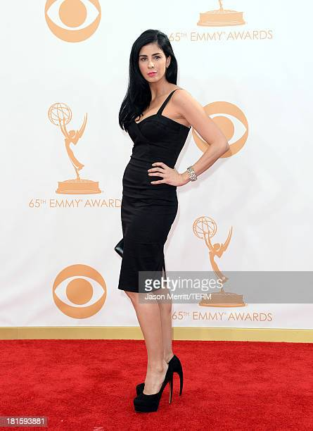 Comedian Sarah Silverman arrives at the 65th Annual Primetime Emmy Awards held at Nokia Theatre LA Live on September 22 2013 in Los Angeles California