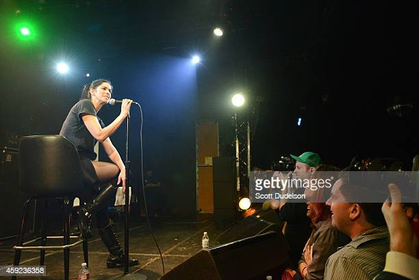 Comedian Sarah Silverman performs on stage at the Fun Lovers Unite A Benefit for Moms Demand Action at the Echoplex on November 18 2014 in Los...