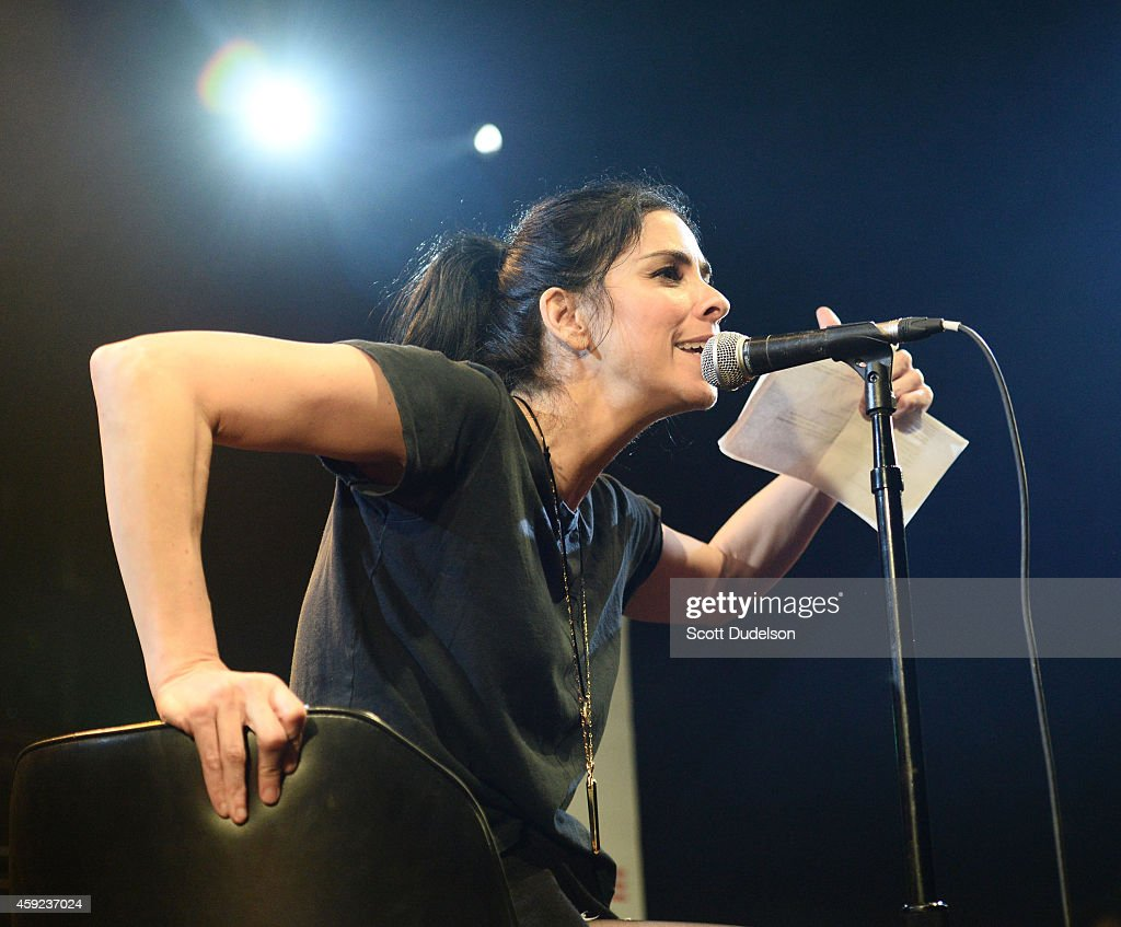 Comedian Sarah Silverman performs on stage at the Fun Lovers Unite! A Benefit for Moms Demand Action at the Echoplex on November 18, 2014 in Los Angeles, California.