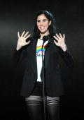 Comedian Sarah Silverman speaks onstage during Spike TV's 'Scream 2010' at The Greek Theatre on October 16 2010 in Los Angeles California