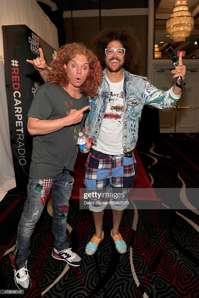 Comedian Scott Thompson, aka <a gi-track='captionPersonalityLinkClicked' href=/galleries/search?phrase=Carrot+Top&family=editorial&specificpeople=2176251 ng-click='$event.stopPropagation()'>Carrot Top</a> (L) and <a gi-track='captionPersonalityLinkClicked' href=/galleries/search?phrase=Redfoo&family=editorial&specificpeople=5857552 ng-click='$event.stopPropagation()'>Redfoo</a> of <a gi-track='captionPersonalityLinkClicked' href=/galleries/search?phrase=LMFAO&family=editorial&specificpeople=5419624 ng-click='$event.stopPropagation()'>LMFAO</a> attend the UPS Gifting Lounge during the 2015 Billboard Music Awards at MGM Grand Garden Arena on May 15, 2015 in Las Vegas, Nevada.