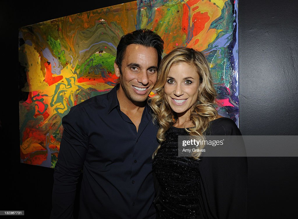 Comedian Sebastian Maniscalco and artist Lana Gomez attend the Lana Gomez Art Show at Roseark on November 11, 2011 in Los Angeles, California.