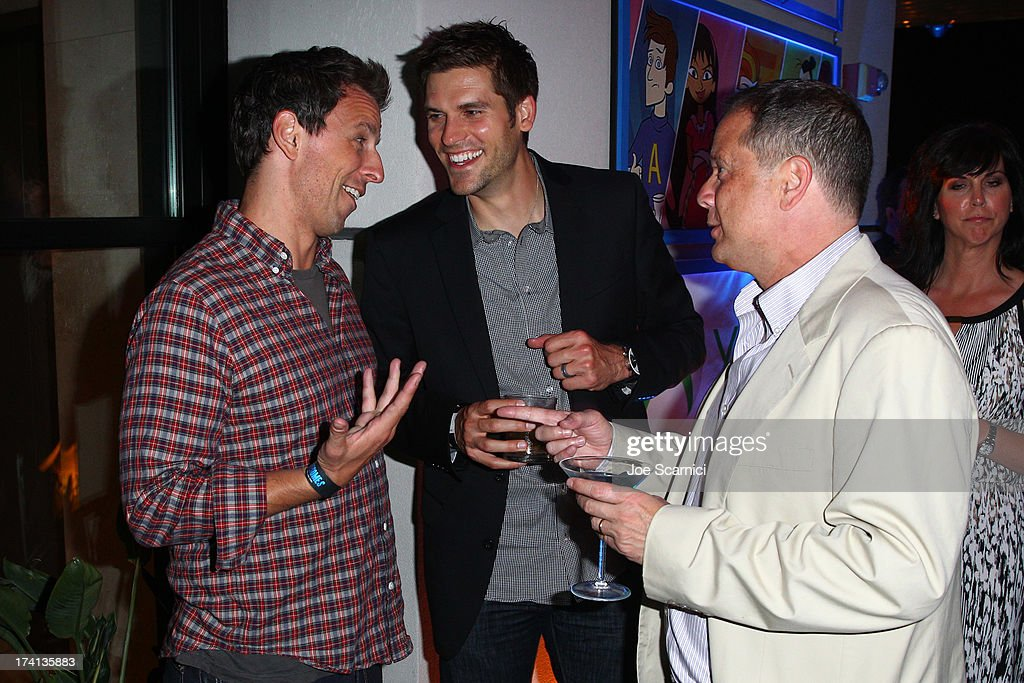 Comedian <a gi-track='captionPersonalityLinkClicked' href=/galleries/search?phrase=Seth+Meyers&family=editorial&specificpeople=618859 ng-click='$event.stopPropagation()'>Seth Meyers</a> (L), producer <a gi-track='captionPersonalityLinkClicked' href=/galleries/search?phrase=Michael+Shoemaker&family=editorial&specificpeople=12314411 ng-click='$event.stopPropagation()'>Michael Shoemaker</a> (R) and guest attend 'The Awesomes' VIP After-Party sponsored by Hulu and Xbox at Andaz on July 20, 2013 in San Diego, California.