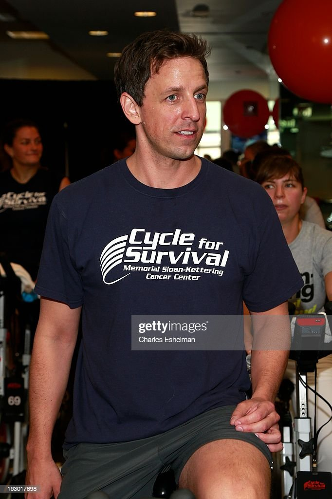 Comedian <a gi-track='captionPersonalityLinkClicked' href=/galleries/search?phrase=Seth+Meyers&family=editorial&specificpeople=618859 ng-click='$event.stopPropagation()'>Seth Meyers</a> spins in the 2013 Cycle For Survival Benefit at Equinox Rock Center on March 3, 2013 in New York City.