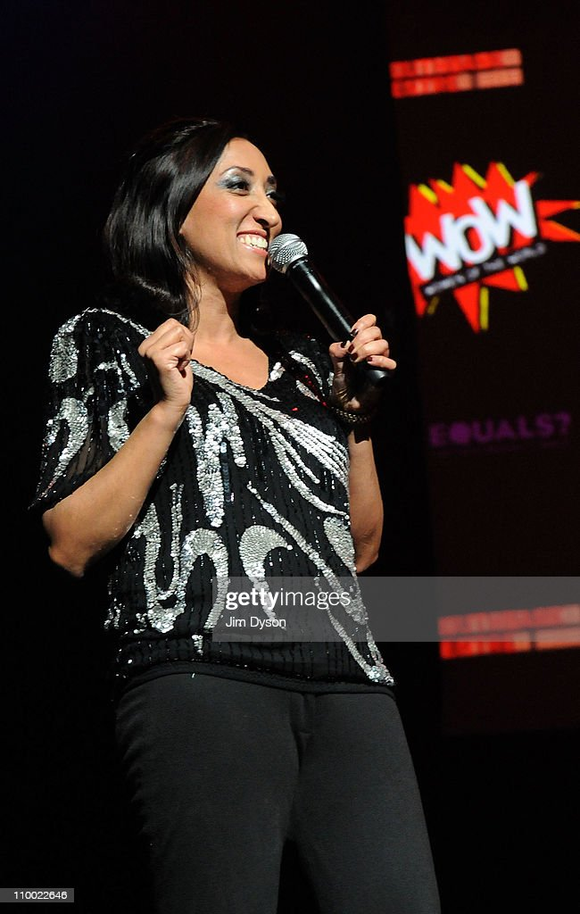 Comedian Shazia Mirza performs during the 'Women Of The World: Equals' live concert to celebrate the 100th anniversary of International Women's Day at the Royal Festival Hall on March 11, 2011 in London, England.