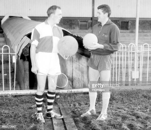 Comedian Stan Stennett gets some advice from Trevor Ford the former Welsh international centreforward who now plays for Newport County when he turns...