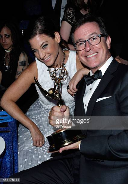 Comedian Stephen Colbert and guest attend the 66th Annual Primetime Emmy Awards Governors Ball held at Los Angeles Convention Center on August 25...