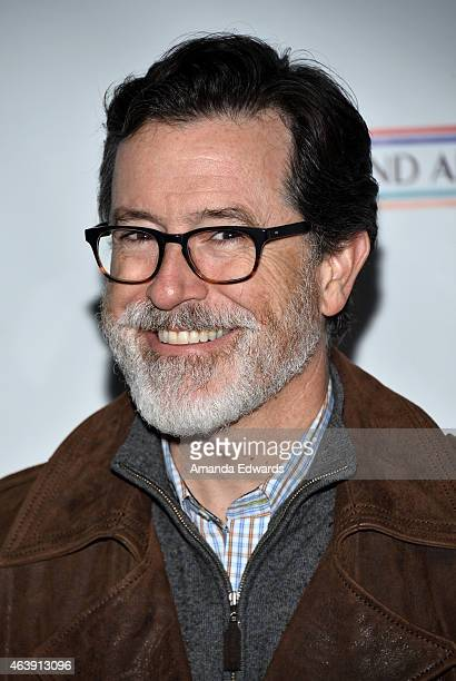 Comedian Stephen Colbert arrives at the USIreland Alliance PreAcademy Awards Honors event at Bad Robot on February 19 2015 in Santa Monica California