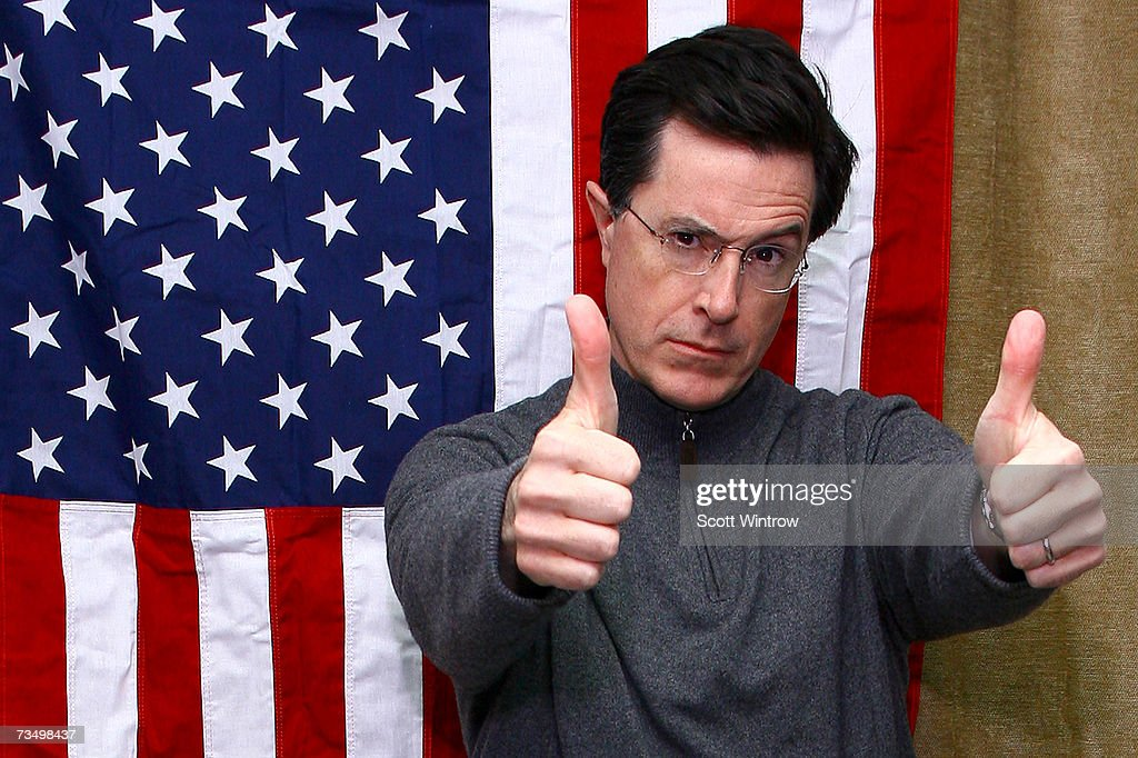 Comedian <a gi-track='captionPersonalityLinkClicked' href=/galleries/search?phrase=Stephen+Colbert&family=editorial&specificpeople=215133 ng-click='$event.stopPropagation()'>Stephen Colbert</a> poses for photos to celebrate the launch of his new Ben & Jerry's ice cream AmeriCone Dream at the Dream Hotel on March 05, 2007 in New York City.