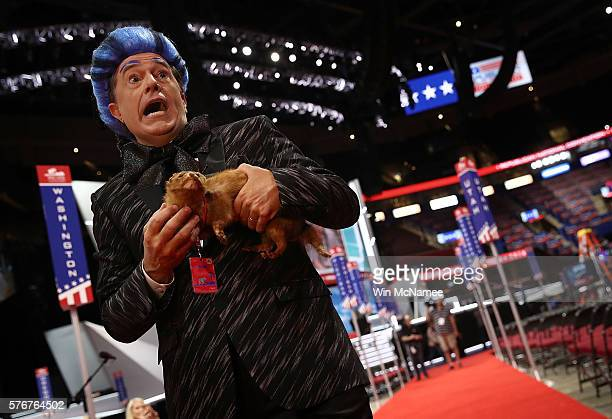 Comedian Stephen Colbert tapes a segment on the floor of the Republican National Convention for CBS's The Late Show with Stephen Colbert at the...