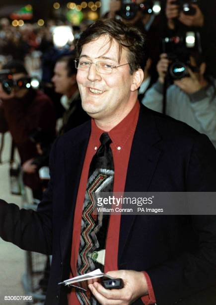 Comedian Stephen Fry arriving for the UK premiere of 'Bridget Jones Diary' at the Empire in London's Leicester Square