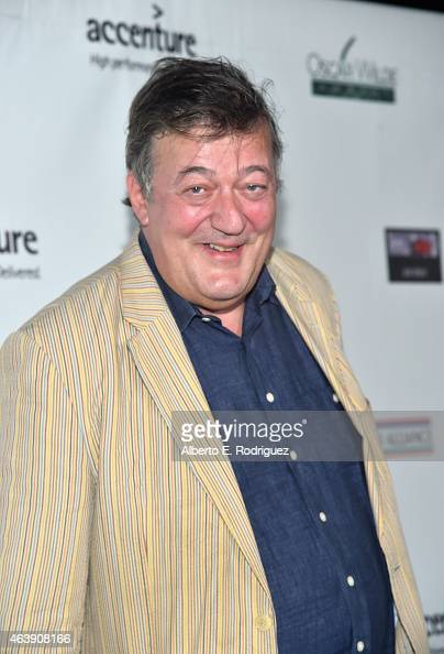 Comedian Stephen Fry attends the USIreland Aliiance's Oscar Wilde Awards event at JJ Abrams' Bad Robot on February 19 2015 in Santa Monica California