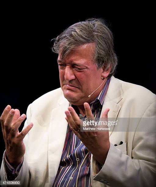 Comedian Stephen Fry reads extracts from his autobiography More Fool Me at the Hay Festival of Literature and Arts on May 23 2015 in HayonWye Wales