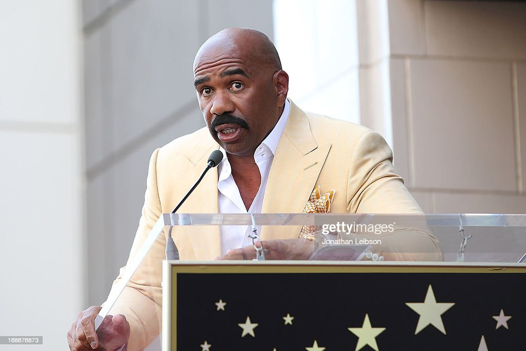 Comedian <a gi-track='captionPersonalityLinkClicked' href=/galleries/search?phrase=Steve+Harvey&family=editorial&specificpeople=210865 ng-click='$event.stopPropagation()'>Steve Harvey</a> Honored With Star On The Hollywood Walk Of Fame on May 13, 2013 in Hollywood, California.