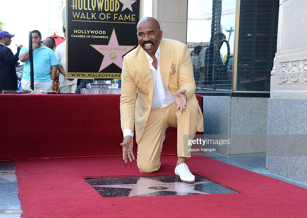 Comedian <a gi-track='captionPersonalityLinkClicked' href=/galleries/search?phrase=Steve+Harvey&family=editorial&specificpeople=210865 ng-click='$event.stopPropagation()'>Steve Harvey</a> is honored on The Hollywood Walk Of Fame on May 13, 2013 in Hollywood, California.