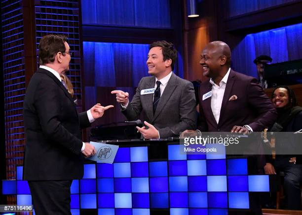 Comedian Steve Higgins Jimmy Fallon and James Poyser play a trivia game on 'The Tonight Show Starring Jimmy Fallon' at Rockefeller Center on November...