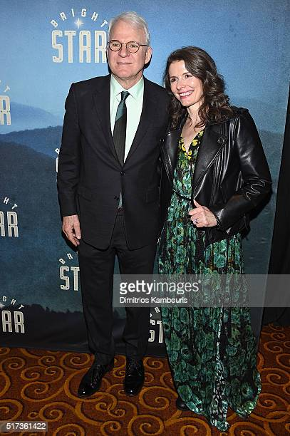 Comedian Steve Martin and Edie Brickel attend the 'Bright Star' Opening Night on Broadway after party on March 24 2016 in New York City