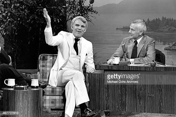 Comedian Steve Martin appears on the 'Tonight Show' with host Johnny Carson on March 10 1979 in Los Angeles California