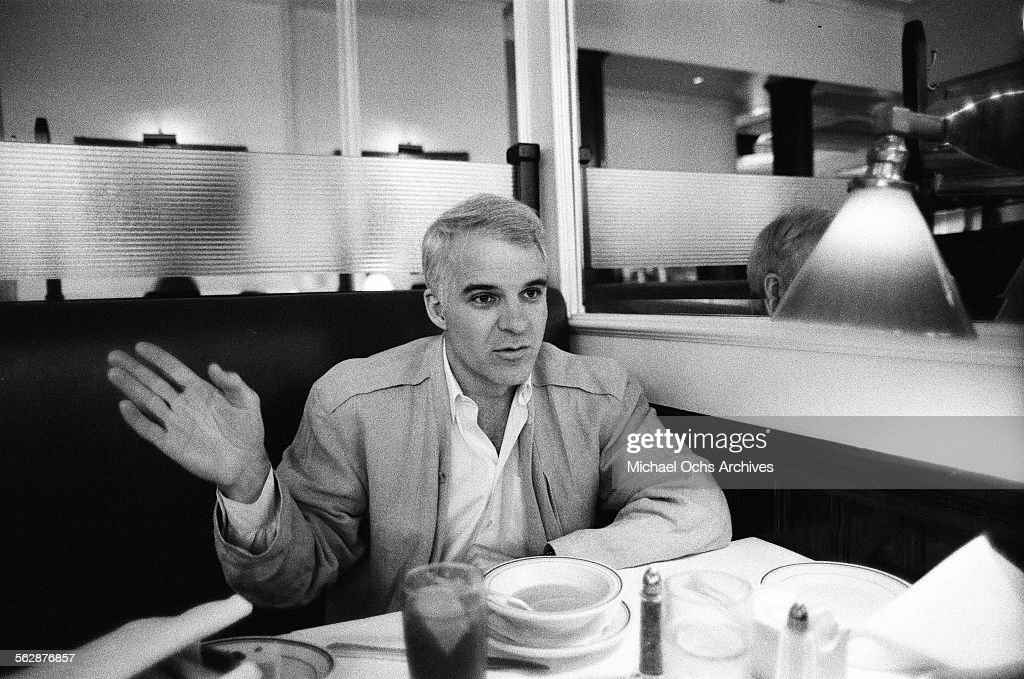 Comedian <a gi-track='captionPersonalityLinkClicked' href=/galleries/search?phrase=Steve+Martin+-+Comedian&family=editorial&specificpeople=196544 ng-click='$event.stopPropagation()'>Steve Martin</a> is interviewed at a diner in Los Angeles,California.