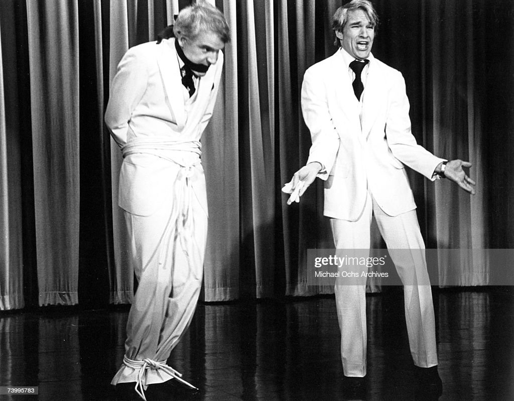 Comedian Steve Martin, is tied up on the left, while a look alike performs on The Tonight Show in circa 1978 in Los Angeles, California.