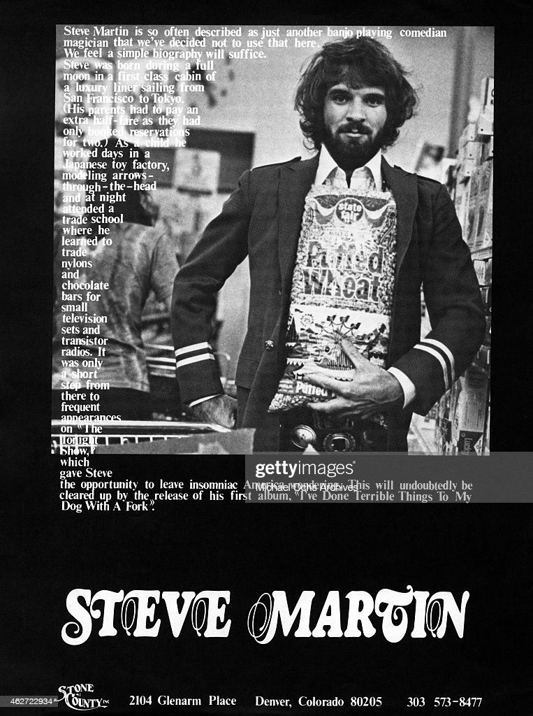 Comedian <a gi-track='captionPersonalityLinkClicked' href=/galleries/search?phrase=Steve+Martin+-+Comedian&family=editorial&specificpeople=196544 ng-click='$event.stopPropagation()'>Steve Martin</a> poses for a portrait that advertises his album 'I've Done Terrible Things To My Dog With A Fork' in 1975.