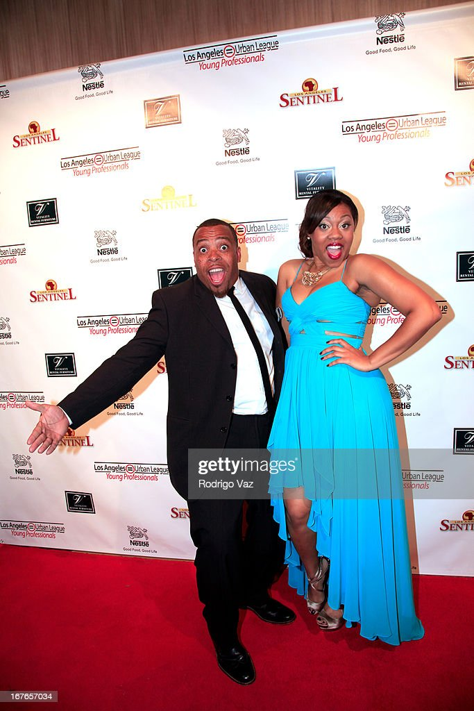 Comedian Tahir Moore and Gerreka Gilliam arrive at the 3rd Annual 'To The Nines' After Party hosted by LA Urban League Young Professionals at The Beverly Hilton Hotel on April 26, 2013 in Beverly Hills, California.
