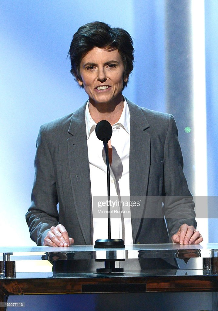 Comedian <a gi-track='captionPersonalityLinkClicked' href=/galleries/search?phrase=Tig+Notaro&family=editorial&specificpeople=5712588 ng-click='$event.stopPropagation()'>Tig Notaro</a> speaks onstage during the 56th GRAMMY Awards Pre-Telecast at Nokia Theatre L.A. Live on January 26, 2014 in Los Angeles, California.
