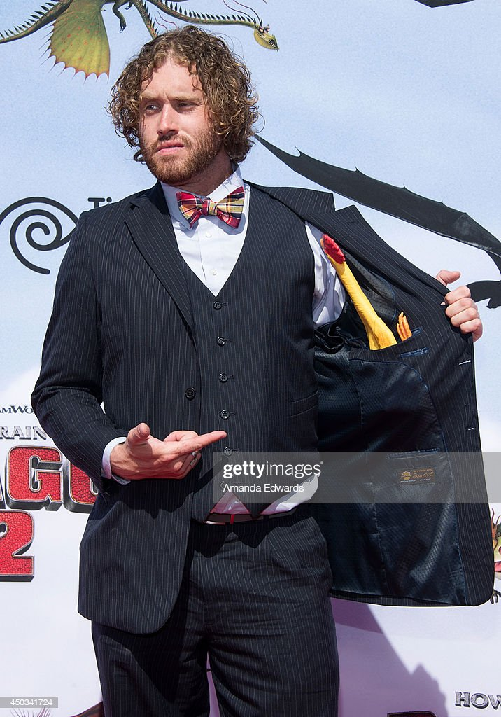 Comedian TJ Miller arrives at the Los Angeles premiere of 'How To Train Your Dragon 2' at the Regency Village Theatre on June 8 2014 in Westwood...