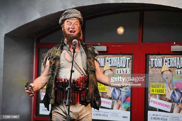 Comedian Tom Gerhardt performs as Muhammar the silliest terrorist in the world during a press conference and portrait shooting at EWerk Koeln on...
